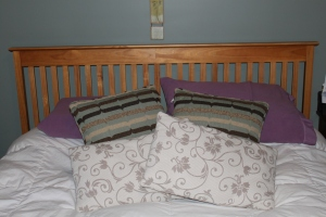 The almost-impossible-to-put-together headboard. Thank you, Mike.
